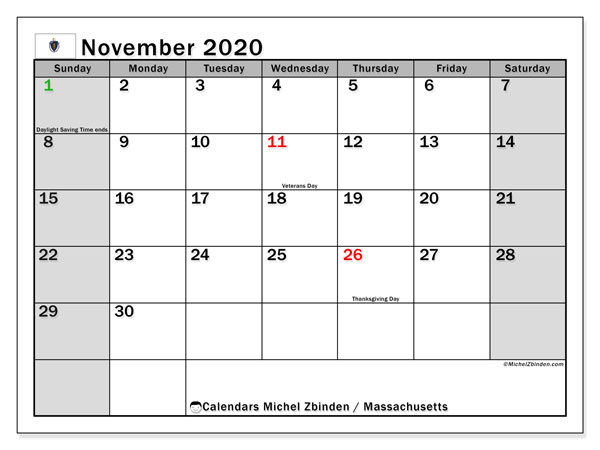 November 2020 Calendar, with the holidays of Massachusetts. Free printable calendar with public holidays.