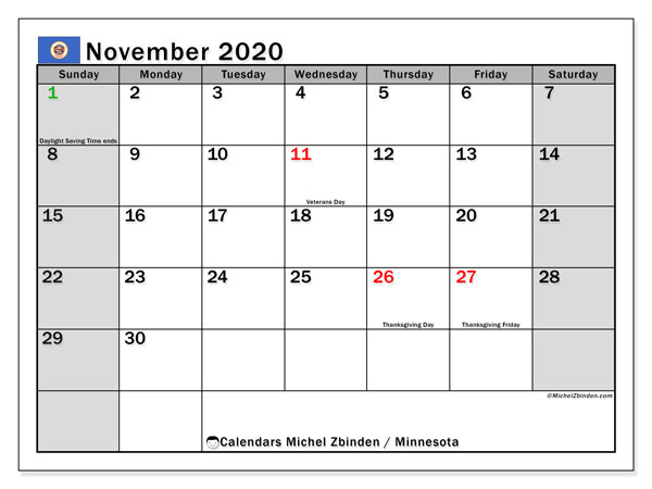 Calendar November 2020 - Minnesota. Public Holidays. Monthly Calendar and free schedule to print.