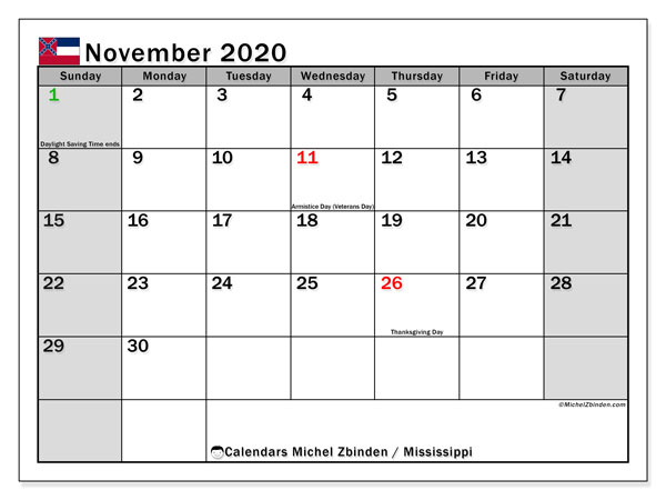 November 2020 Calendar, with the Mississippi holidays. Free printable calendar with public holidays.