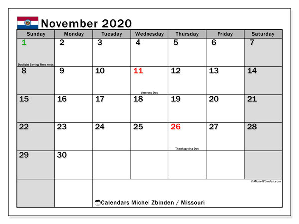 November 2020 Calendar, with the holidays of Missouri. Free printable calendar with public holidays.