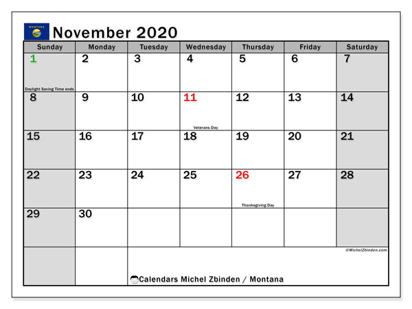 November 2020 Calendar, with the holidays of Montana. Free printable calendar with public holidays.