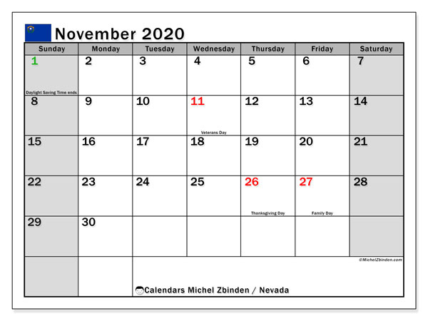 November 2020 Calendar, with the holidays of Nevada. Free printable calendar with public holidays.