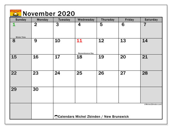 Calendar November 2020 - New Brunswick. Public Holidays. Monthly Calendar and planner to print free.