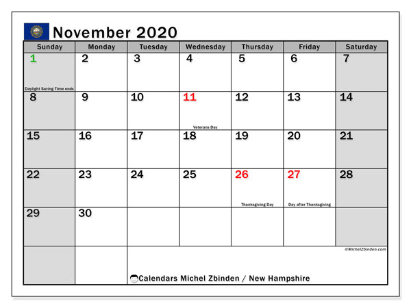 November 2020 Calendar, with the holidays of New Hampshire. Free printable calendar with public holidays.