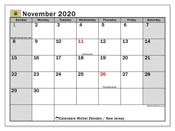 November 2020 Calendar, with the holidays of New Jersey. Holidays calendar to print free.