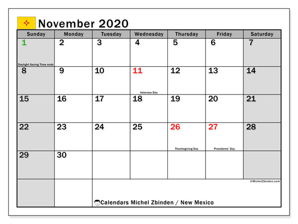 Calendar November 2020 - New Mexico. Public Holidays. Monthly Calendar and free printable timetable.