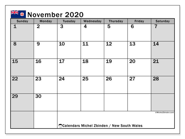 "Printable ""New south wales"" calendar with public holidays. Monthly November 2020 calendar and planner to print free."
