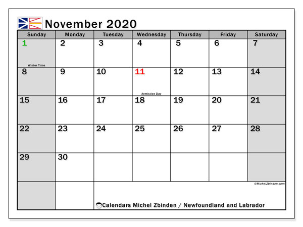 November 2020 Calendar, with the holidays of Newfoundland and Labrador. Free printable calendar with public holidays.