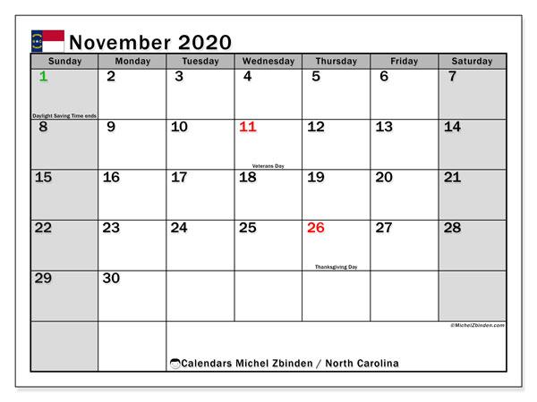 November 2020 Calendar, with the holidays of North Carolina. Holidays calendar to print free.