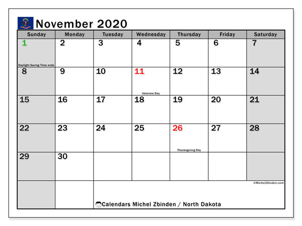 "Printable ""North Dakota"" calendar with public holidays. Monthly November 2020 calendar and bullet journal to print free."