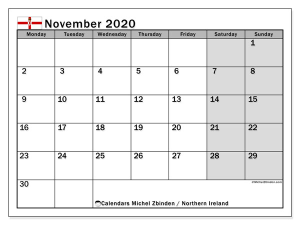 November 2020 Calendar, with the holidays of Northern Ireland. Holidays calendar to print free.