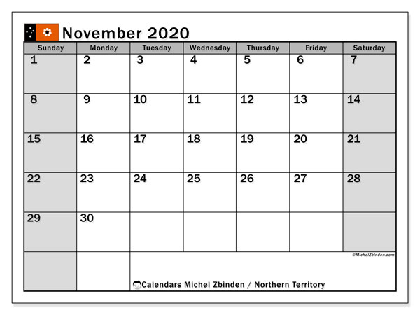 November 2020 Calendar, with the holidays of Northern Territory. Holidays calendar to print free.