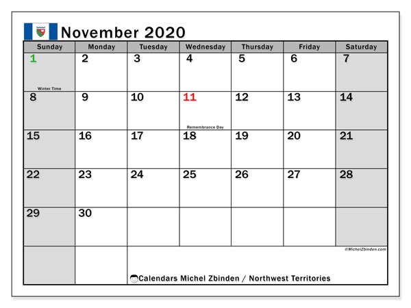 November 2020 Calendar, with the holidays of Northwest Territories. Free printable calendar with public holidays.
