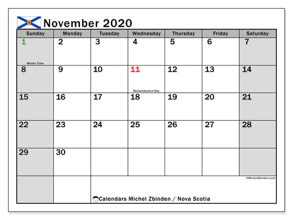 November 2020 Calendar, with the holidays of Nova Scotia. Holidays calendar to print free.
