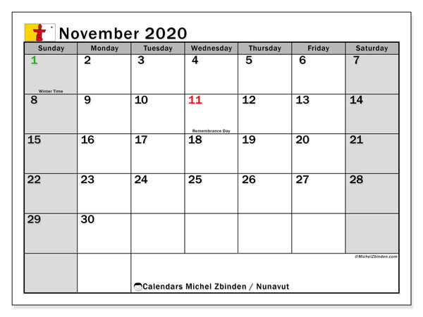 November 2020 Calendar, with the holidays of Nunavut. Holidays calendar to print free.