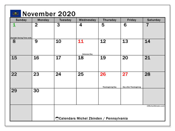 "Printable ""Pennsylvania"" calendar with public holidays. Monthly November 2020 calendar and free printable planner."