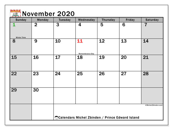November 2020 Calendar, with the holidays of Prince Edward Island. Holidays calendar to print free.