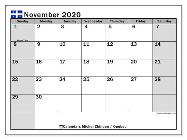 November 2020 Calendar, with the holidays of Quebec. Free printable calendar with public holidays.