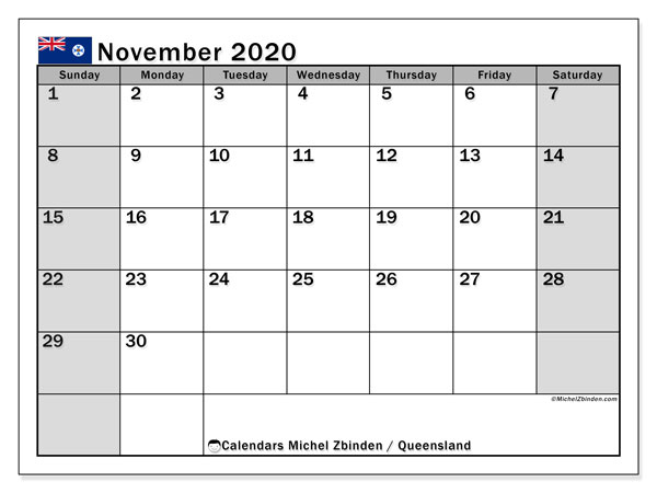 "Printable ""Queensland"" calendar with public holidays. Monthly November 2020 calendar and free schedule to print."