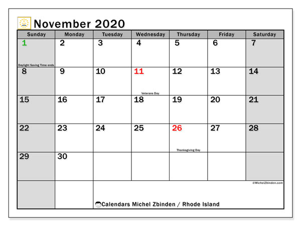 November 2020 Calendar, with the holidays of Rhode Island. Free printable calendar with public holidays.