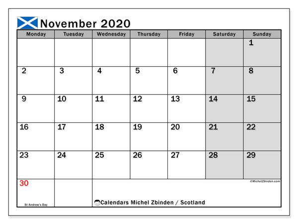 Calendar November 2020, with the holidays of Scotland. Calendar for the month to print free.