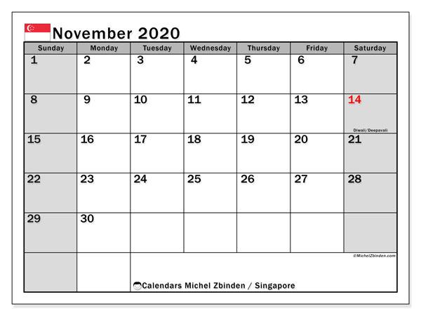 November 2020 Calendar, with the holidays of Singapore. Holidays calendar to print free.