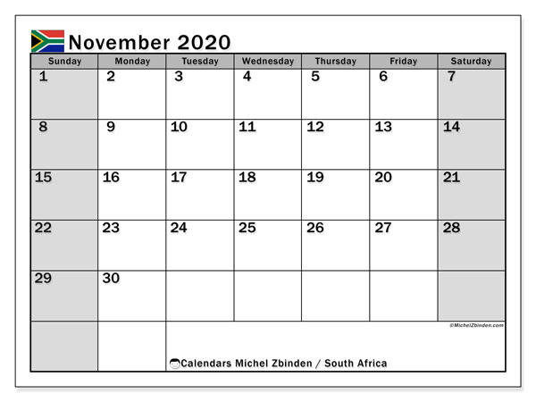 November 2020 Calendar, with the holidays of South Africa. Holidays calendar to print free.