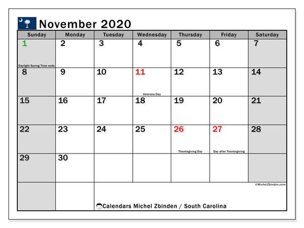November 2020 Calendar, with the holidays of South Carolina. Free printable calendar with public holidays.