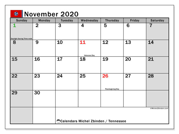 November 2020 Calendar, with the holidays of Tennessee. Holidays calendar to print free.
