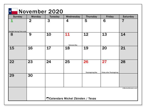 November 2020 Calendar, with the holidays of Texas. Holidays calendar to print free.