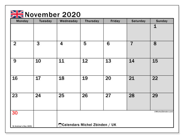 Calendar November 2020, with the holidays of the UK. Monthly calendar to print free.
