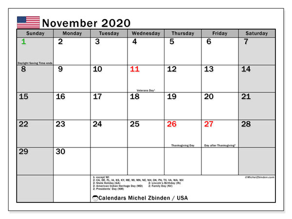 November 2020 Calendar, with the holidays of the USA. Holidays calendar to print free.