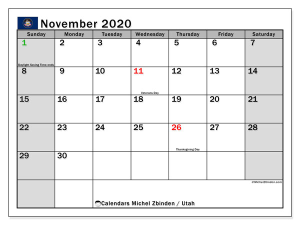 November 2020 Calendar, with the holidays of Utah. Holidays calendar to print free.