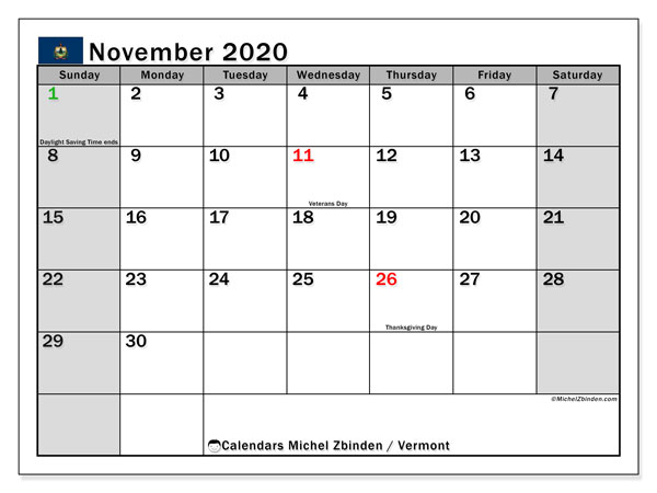 "Printable ""Vermont"" calendar with public holidays. Monthly November 2020 calendar and free schedule to print."