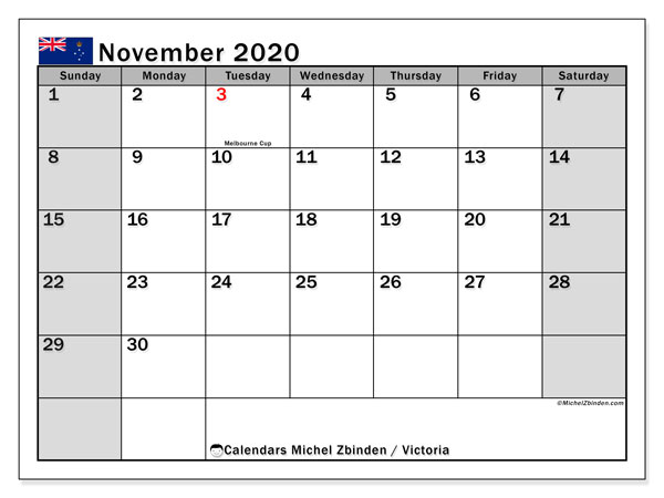 November 2020 Calendar, with the holidays of Victoria. Free printable calendar with public holidays.