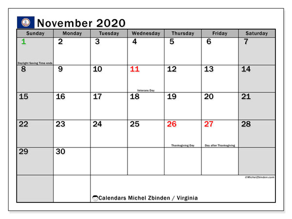 November 2020 Calendar, with the holidays of Virginia. Holidays calendar to print free.