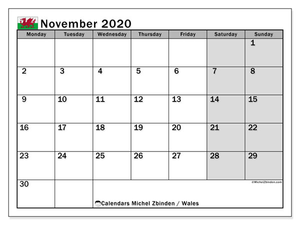 November 2020 Calendar, with the holidays of Wales. Free printable calendar with public holidays.