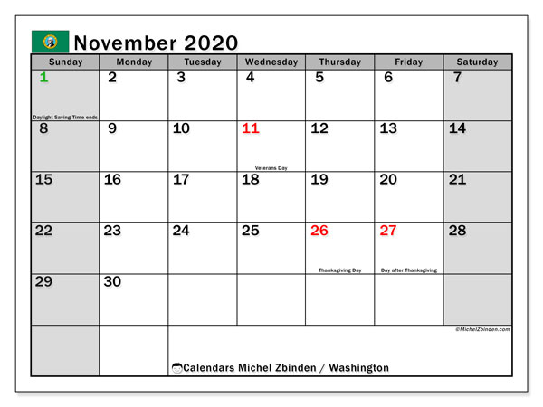 "Printable ""Washington"" calendar with public holidays. Monthly November 2020 calendar and free printable schedule."