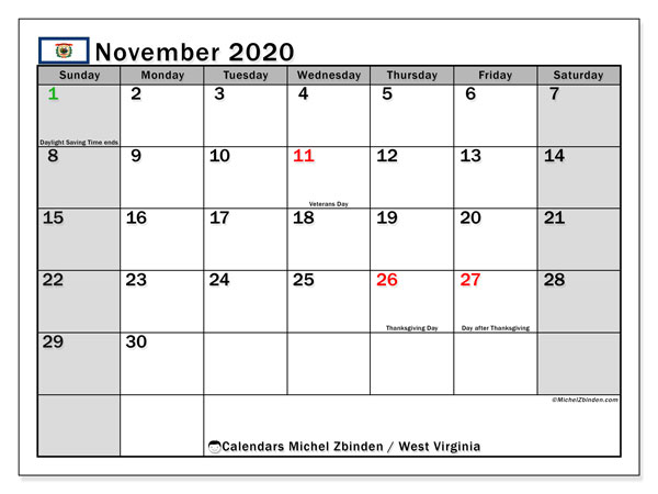 November 2020 Calendar, with the holidays of West Virginia. Free printable calendar with public holidays.