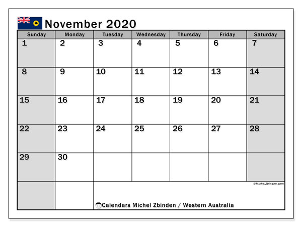 "Printable ""Western Australia"" calendar with public holidays. Monthly November 2020 calendar and agenda to print free."
