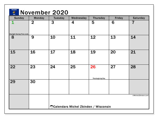 November 2020 Calendar, with the holidays of Wisconsin. Free printable calendar with public holidays.