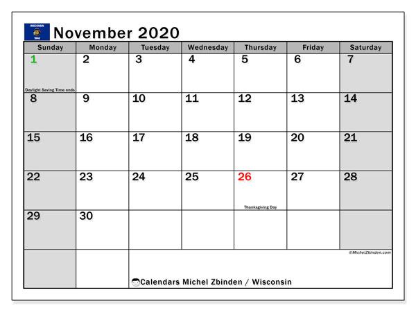 November 2020 Calendar, with the holidays of Wisconsin. Holidays calendar to print free.