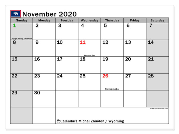 "Printable ""Wyoming"" calendar with public holidays. Monthly November 2020 calendar and free printable planner."
