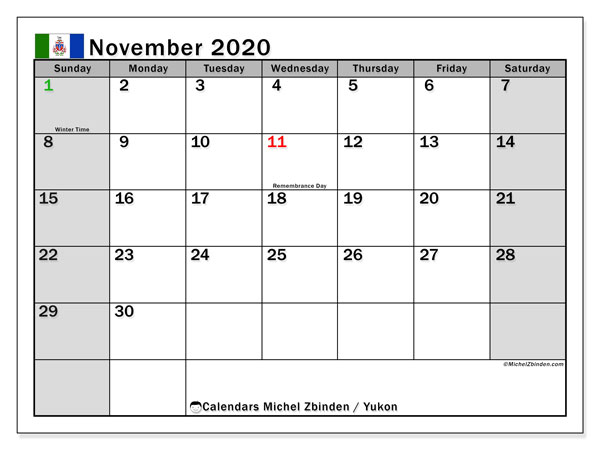 November 2020 Calendar, with the holidays of Yukon. Free printable calendar with public holidays.