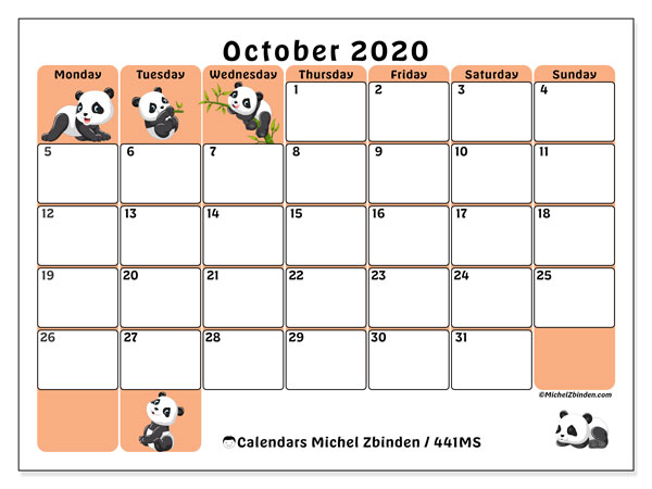 Printable calendar, October 2020, 441MS