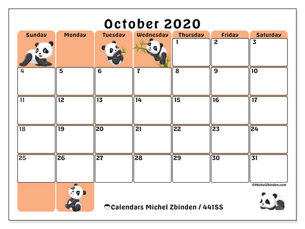 Printable calendar, October 2020, 441SS