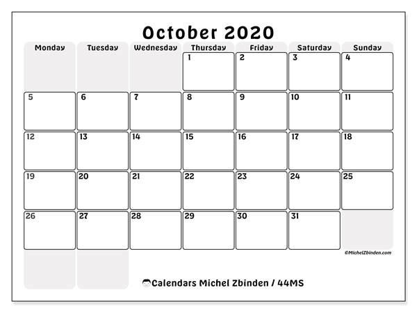 Printable calendar, October 2020, 44MS