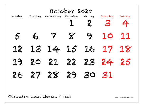 Printable calendar, October 2020, 46MS