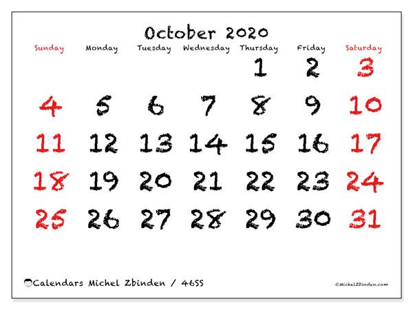 October 2020 Calendar, 46SS. Monthly calendar to print free.