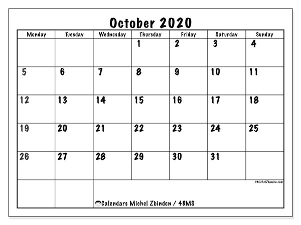 Calendar October 2020 - 48MS. Marker style. Monthly Calendar and schedule to print free.
